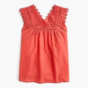 J. Crew Embroidered Bib Top Pink Coral Medium